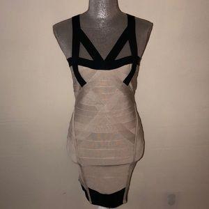 Herve Leger cream and black bandage dress